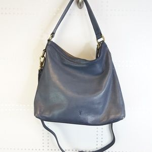 Frye Navy Leather Slouchy Bag with Shoulder Strap